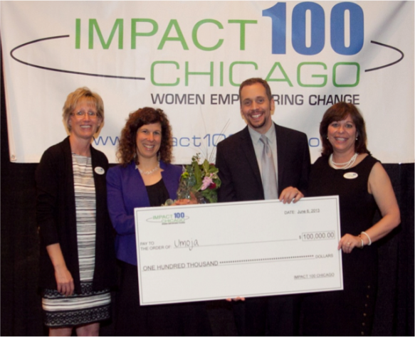 Marybeth Lernihan Impact 100 Chicago, Lila Leff Founder of Umoja, Ted Christians CEO of Umoja and Michele Polvere, Impact 100 Chicago