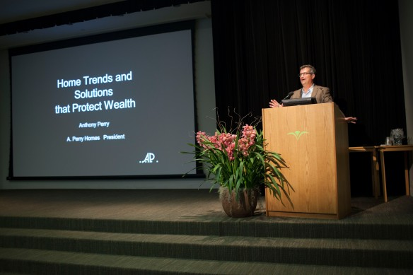 Tony Perry of A. Perry Homes talked about Home Trends and Solutions that Protect Wealth.