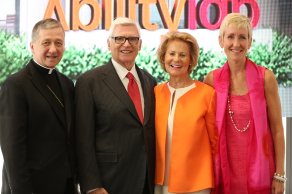 Archbishop Blase J. Cupich, Pat and Shirley Ryan and Dr. Joanne C. Smith, president and CEO of RIC.